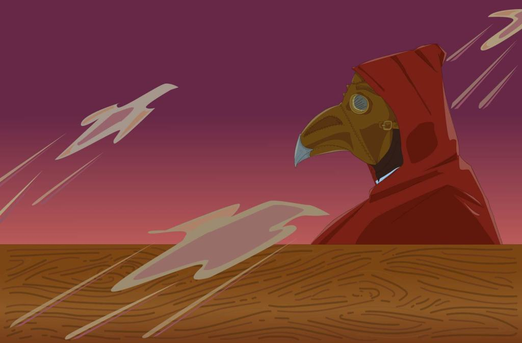 Eoin with plague doctor mask and red cloak on ship at sunrise.  Kavordian Library.  Fyskar.