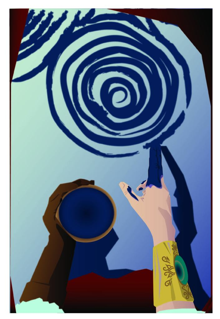 Eoin with gold bracer showing painting woad tryskelion on snow.  The Kavordian Library.  Fyskar.