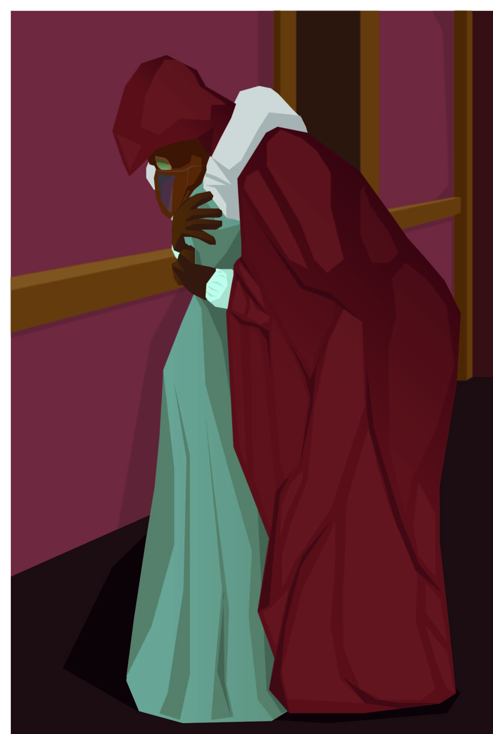 Eoin in seventeenth century plague mask and red leather cloak hugging Widow Magaidh in peasant dress.