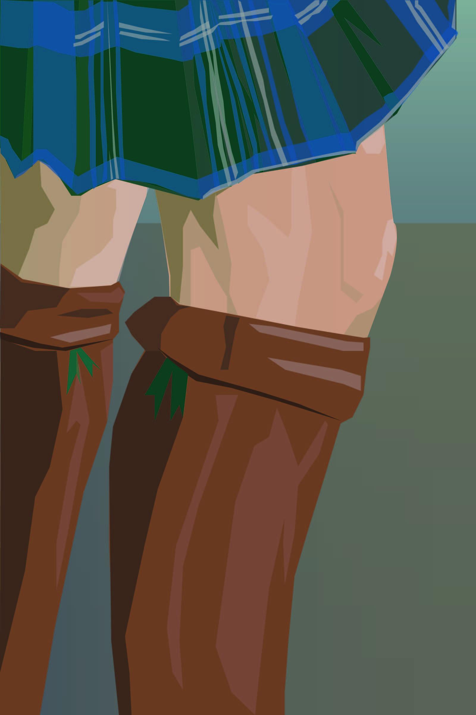 Daleroch blue and green kilt tartan, knees, and leather boots.  Kavordian Library.  Fyskar.