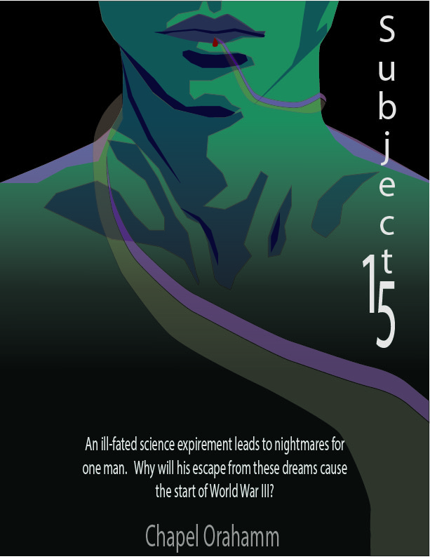Subject15 cover image of man's lips and shoulders with see through tentacle and drop of blood.