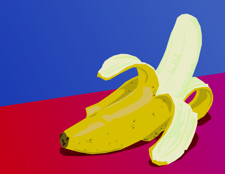 half peeled banana on red table with blue background