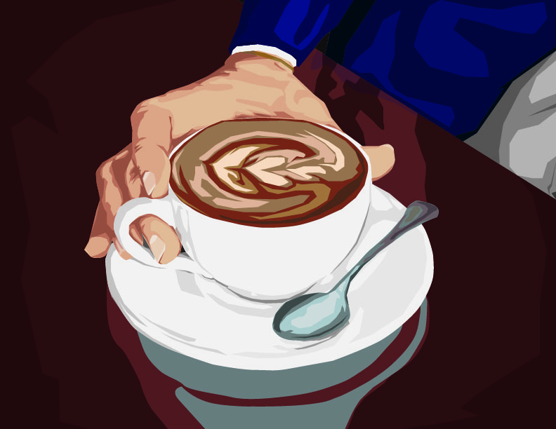 Hand on a white cup of coffee