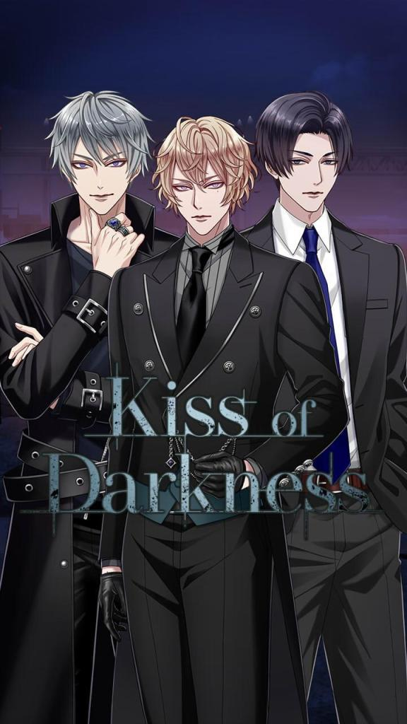 Kiss of Darkness otome game banner. Three men.