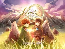 boy and girl standing in front of sunrise and rocks with Lanota banner title.
